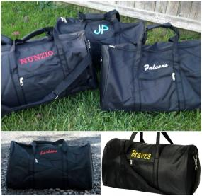 Monogrammed Black Duffle Bag