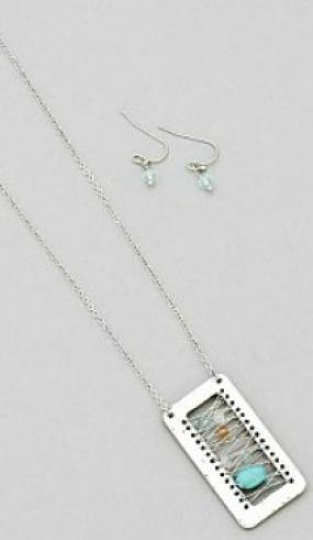 Handmade Hammered Square Necklace Set.....FREE SHIPPING