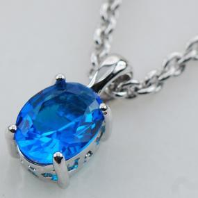 Precious Topaz Oval Pendant Necklace..........FREE SHIPPING