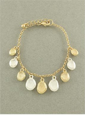 REDUCED.....Matte Gold and Silver Coin Bracelet...FREE SHIPPING