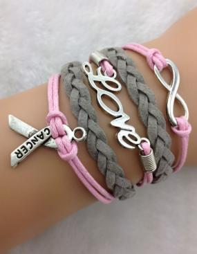 Breast Cancer Awareness Charm Bracelet - FREE SHIPPING