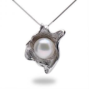 One of a Kind Sterling Silver White Pearl Pendant Necklace