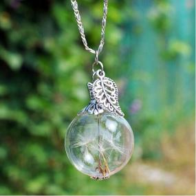Make a Wish Necklace Dandelion Seed Necklace