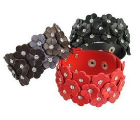 Leather Floral Bracelet - Free Shipping