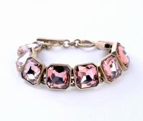 Square Cut Crystal Bracelet in Pink Sapphire or Diamond - Free Shipping