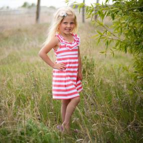 Girls Coral Striped Summer Dress