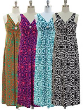 Gathered Maxi Dresses - Free Shipping