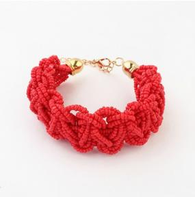 Limited Stock-Elegant Braided Beaded Bracelet in Red-FREE SHIPPING