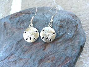 Silver Sand Dollar Earrings - Free Shipping