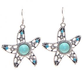 Turquoise Starfish Drop Earrings - Free Shipping