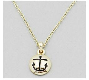 Tiny Accent Anchor Pendent Necklace in Silver and Gold- Free Shipping