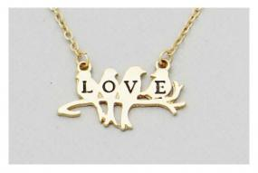 Love Birds Pendant Necklace in Silver and Gold  - Free Shipping