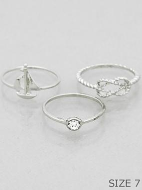 Set of 3 Stackable Boat Rings - Free Shipping