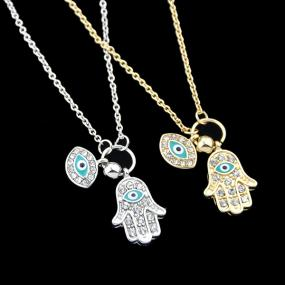 Hamsa Hand and Eye Necklace in Silver or Gold