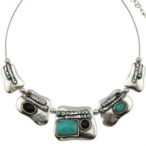 Silver Collar Necklace in Three Colors - Free Shipping