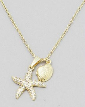 Pave Starfish Pendant Necklace in Gold or Silver - FREE SHIPPING
