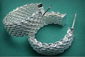 Silver Mesh Hoops - FREE SHIPPING