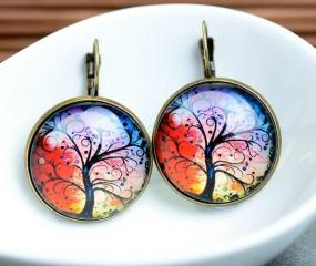 Colorful Tree Earrings - Your Choice of 3 Colors