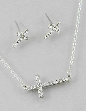 Glittering Cubic Zirconia Sideways Necklace and Earrings - Free shipping