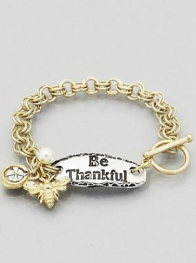 Be Thankful Bee Charm Bracelet - Free Shipping
