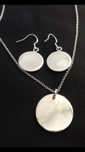 Silver Disc Earring and Necklace Set - Free Shipping