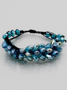 Crystal Shamballa Double Teardrop Adjustable Bracelets in Teal and Clear - Free Shipping