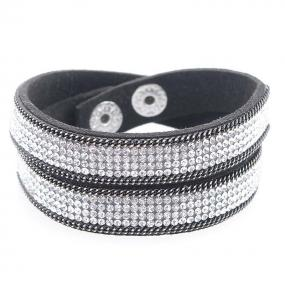 Swarovski Elements Wrap Bracelet on Soft Leather in 3 choices - Free shipping