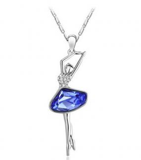 Austrian Crystal Dancer Necklace in Tanzanite or Diamond - Free Shipping