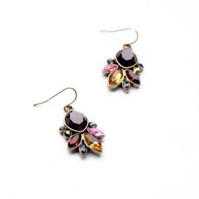 Geometric Jeweled Drop Earrings in Blue and Purple Hues - Free Shipping