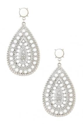 Limited Stock- White Stone Emplated Tear Drop Earrings