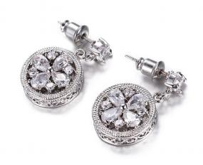 Old World Floral Crystal Drop Earring - Free Shipping