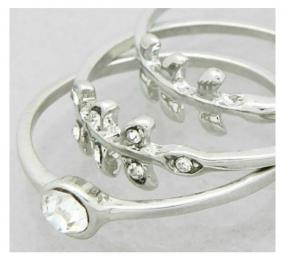 3 Stackable Leaf Rings - Free Shipping