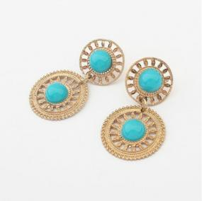 Gold Lacework Drop Earrings in Blue or Black - Free Shipping