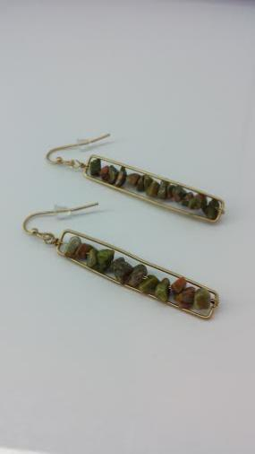 Natural Stone Rectangle Earrings - Free Shipping