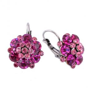 Crystal Floret Leverback Earrings in Green or Pink - Free Shipping