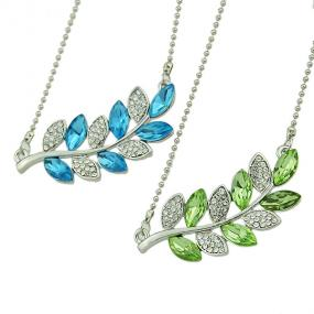 Elegant Crystal Tree Branch Necklace in Green or Blue - Free Shipping