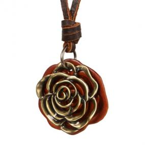 Vintage Rose Leather Necklace - Free Shipping