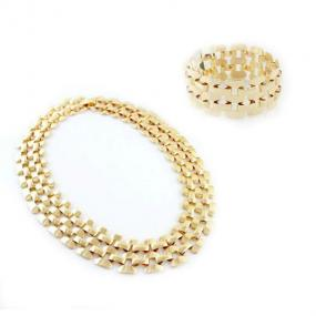 Woven Gold Necklace and Bracelet Set - Free Shipping