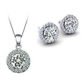 Swarovski Pave Halo White Gold Earrings or Necklace - Free Shipping