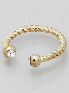 Cable Twist Ring in Gold Size 7 - Free Shipping