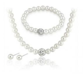Pearl and Shamballa Accent Jewelry Set