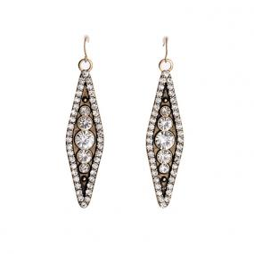 Gold & Crystal Geometric Statement Earrings