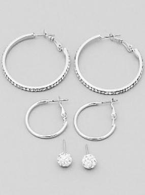 Pave and Hoops Earring Set - Free Shipping