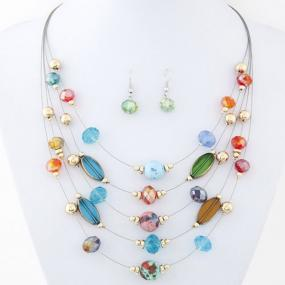 Multicolor Illusion Necklace and Earring Set - Free Shipping