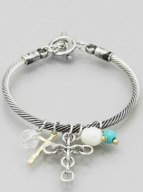 Clustered Cross Toggle Charm Bracelet - Free Shipping