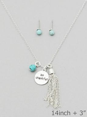Be Thankful Tassel Necklace and Earring Set - Free Shipping