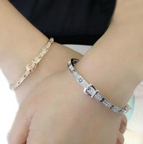Swarovski Element Buckle Bracelet in Silver or Rose Gold - Free Shipping