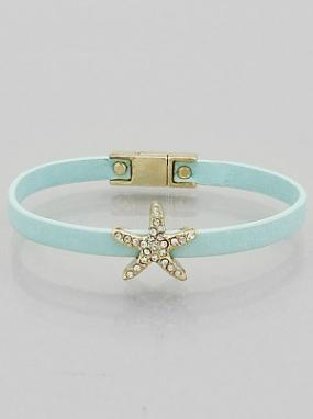 Pave Starfish Leather Magnetic Bracelet - Free Shipping