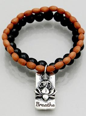 Wooden Bead Stretch Bracelet with Buddha Charm - Free Shipping