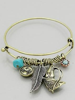 Horse Head  Bangle with Charms in Silver or Gold - Free Shipping